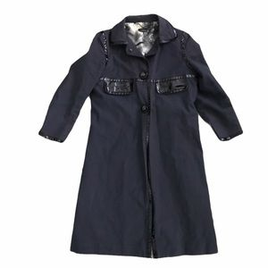 Anya Hindmarch Navy and Black Fitted Trench Coat